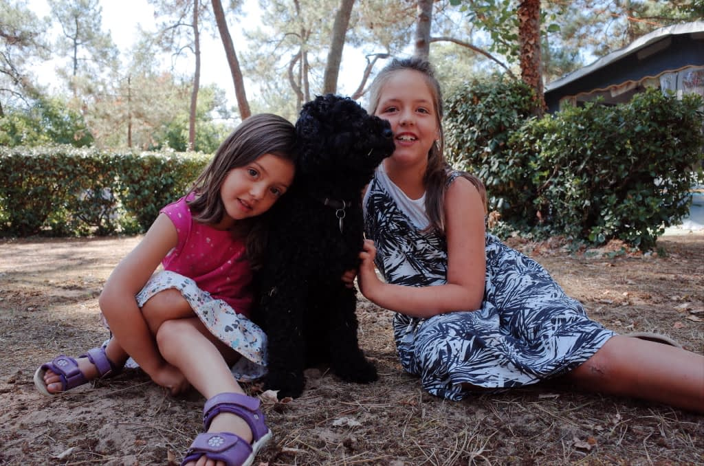 Hund zwischen zwei Mädchen