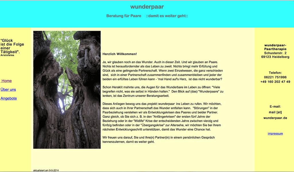 Screenshot der alten Webseite wunderpaar.de